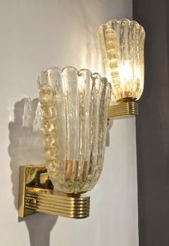 Barovier Toso Barovier Italian Art Deco Design Crystal Gold Leaf Murano Glass Bowl Sconces - 1308149