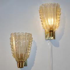 Barovier Toso Barovier Italian Art Deco Design Crystal Gold Leaf Murano Glass Bowl Sconces - 1308151