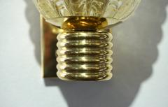 Barovier Toso Barovier Italian Art Deco Design Crystal Gold Leaf Murano Glass Bowl Sconces - 1308155