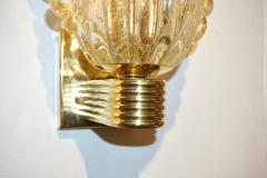 Barovier Toso Barovier Italian Art Deco Design Crystal Gold Leaf Murano Glass Bowl Sconces - 1308156