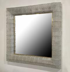 Barovier Toso Italian Modern Handblown Glass and Bronze Illuminated Mirror Barovier and Toso - 2099229