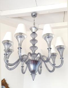Barovier Toso Large Blue Gray Mid Century Modern 8 lights Murano Glass Chandelier by Barovier - 1006215