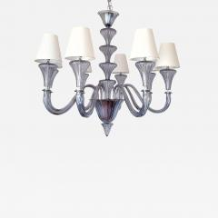 Barovier Toso Large Blue Gray Mid Century Modern 8 lights Murano Glass Chandelier by Barovier - 1008507