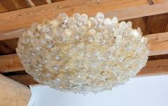 Barovier Toso Large Mid Century Modern Murano glass flower flush mount light By Barovier 1970s - 1523865