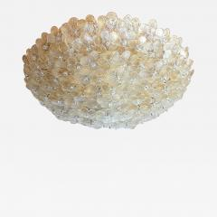 Barovier Toso Large Mid Century Modern Murano glass flower flush mount light By Barovier 1970s - 1526934