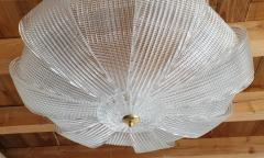 Barovier Toso Large Mid Century Murano clear glass flush mount lights Barovier style 1970s - 1604013