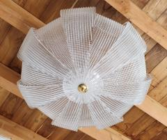 Barovier Toso Large Mid Century Murano clear glass flush mount lights Barovier style 1970s - 1604016