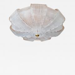 Barovier Toso Large Mid Century Murano clear glass flush mount lights Barovier style 1970s - 1605297