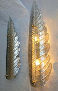 Barovier Toso Large pair of silver Murano glass leaf sconces Mid Century Modern Barovier styl - 2084275