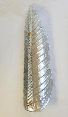 Barovier Toso Large pair of silver Murano glass leaf sconces Mid Century Modern Barovier styl - 2084280