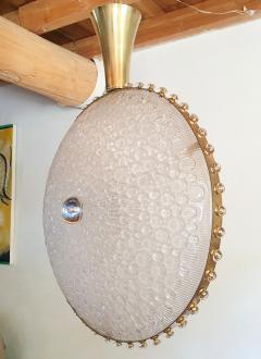 Barovier Toso Large round textured Murano glass brass Mid Century chandelier Barovier Italy - 2067266