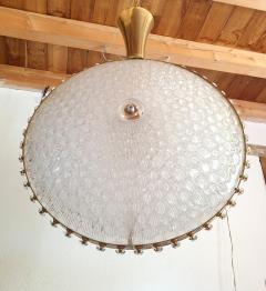 Barovier Toso Large round textured Murano glass brass Mid Century chandelier Barovier Italy - 2067267