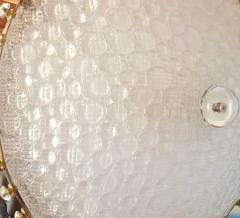 Barovier Toso Large round textured Murano glass brass Mid Century chandelier Barovier Italy - 2067269