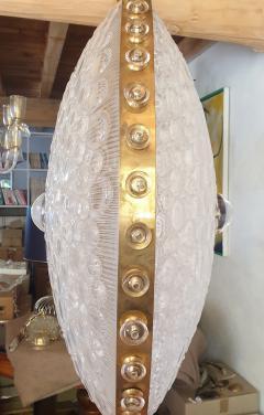 Barovier Toso Large round textured Murano glass brass Mid Century chandelier Barovier Italy - 2067271