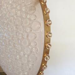 Barovier Toso Large round textured Murano glass brass Mid Century chandelier Barovier Italy - 2067272
