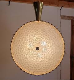 Barovier Toso Large round textured Murano glass brass Mid Century chandelier Barovier Italy - 2067273