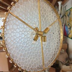 Barovier Toso Large round textured Murano glass brass Mid Century chandelier Barovier Italy - 2067275