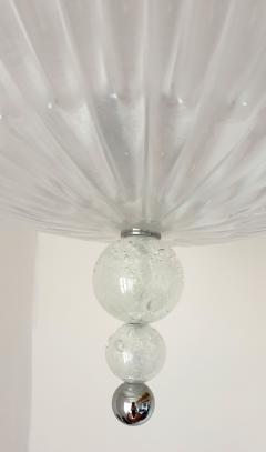 Barovier Toso Mid Century Modern frosted Murano glass chrome chandelier Barovier style - 1196824