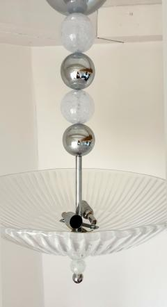 Barovier Toso Mid Century Modern frosted Murano glass chrome chandelier Barovier style - 1196825