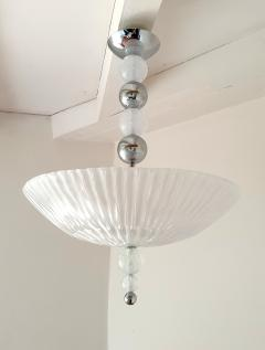 Barovier Toso Mid Century Modern frosted Murano glass chrome chandelier Barovier style - 1196826