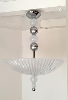 Barovier Toso Mid Century Modern frosted Murano glass chrome chandelier Barovier style - 1196845