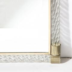 Barovier Toso Mid Century Murano Braided Glass Mirror with Brass Fittings by Barovier e Toso - 2004941