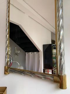 Barovier Toso Mirror Brass Twisted Silver murano glass Italy 1960s - 1609650