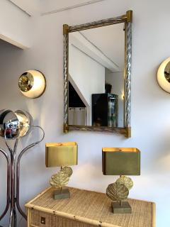 Barovier Toso Mirror Brass Twisted Silver murano glass Italy 1960s - 1609655