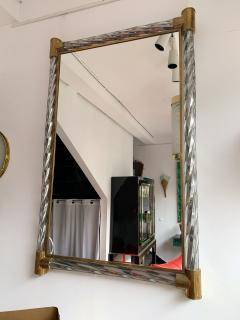 Barovier Toso Mirror Brass Twisted Silver murano glass Italy 1960s - 1609656