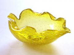Barovier Toso Murano Barovier Toso Mid century Yellow Bullicante Art Glass Leaf form Bowl - 1286862