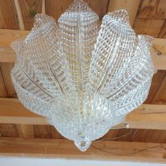 Barovier Toso Murano glass Leaves Mid Century Modern flush mount chandelier Barovier style 70s - 1959516