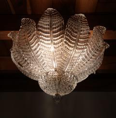 Barovier Toso Murano glass Leaves Mid Century Modern flush mount chandelier Barovier style 70s - 1959521