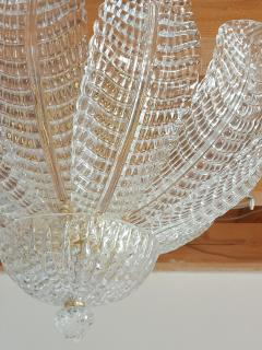 Barovier Toso Murano glass Leaves Mid Century Modern flush mount chandelier Barovier style 70s - 1959522