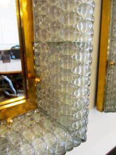 Barovier Toso Pair of Italian Modern Handblown Glass Bronze Illuminated Mirrors - 1210642