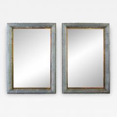 Barovier Toso Pair of Italian Modern Handblown Glass Bronze Illuminated Mirrors - 1222945