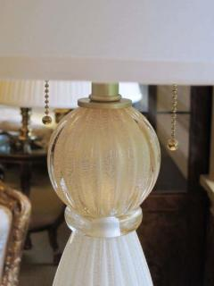 Barovier Toso Pair of Italian White and Gold Murano Glass Table Lamps - 1876865