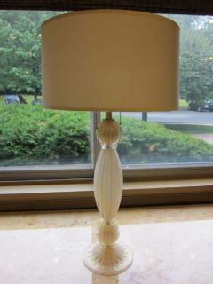 Barovier Toso Pair of Italian White and Gold Murano Glass Table Lamps - 1876875