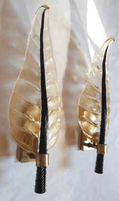 Barovier Toso Pair of Mid Century Modern leaf Murano glass sconces by Barovier Toso 1970s - 1338190