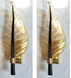 Barovier Toso Pair of Mid Century Modern leaf Murano glass sconces by Barovier Toso 1970s - 1338225