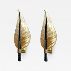 Barovier Toso Pair of Mid Century Modern leaf Murano glass sconces by Barovier Toso 1970s - 1339758