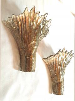 Barovier Toso Pair of Mid Century Modern leaf gold Murano glass sconces attr to Barovier 1970s - 1135052