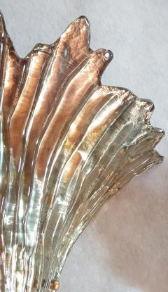 Barovier Toso Pair of Mid Century Modern leaf gold Murano glass sconces attr to Barovier 1970s - 1135053