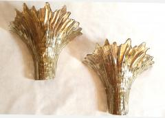 Barovier Toso Pair of Mid Century Modern leaf gold Murano glass sconces attr to Barovier 1970s - 1135054