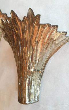 Barovier Toso Pair of Mid Century Modern leaf gold Murano glass sconces attr to Barovier 1970s - 1135056