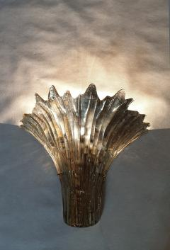 Barovier Toso Pair of Mid Century Modern leaf gold Murano glass sconces attr to Barovier 1970s - 1135057