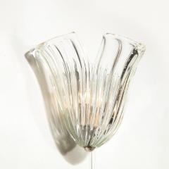 Barovier Toso Pair of Mid Century Translucent Stylized Anemone Sconces by Barovier e Toso - 2004933