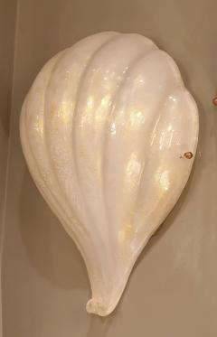 Barovier Toso Pair of Shell Murano glass Mid Century Modern sconces Barovier Toso style - 1298288