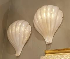 Barovier Toso Pair of Shell Murano glass Mid Century Modern sconces Barovier Toso style - 1298290