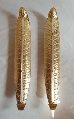 Barovier Toso Pair of tall Murano gold leaf sconces Mid Century Modern Barovier style 1970s - 1323226