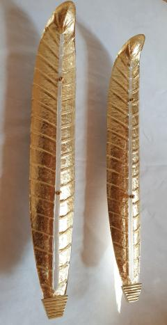 Barovier Toso Pair of tall Murano gold leaf sconces Mid Century Modern Barovier style 1970s - 1323328